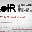 Named Book of the Year from AoIR!